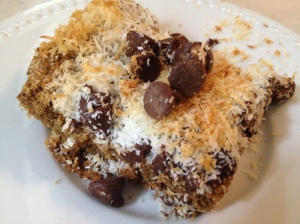 Delicious coconut blondies, featuring both coconut oil and coconut flakes! Yum!