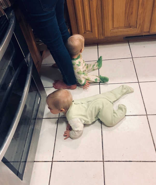 Twins in kitchen
